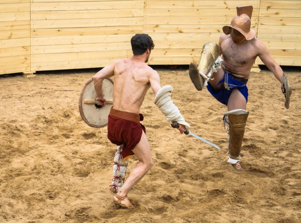 modern gladiators recreating battles in the Colosseum