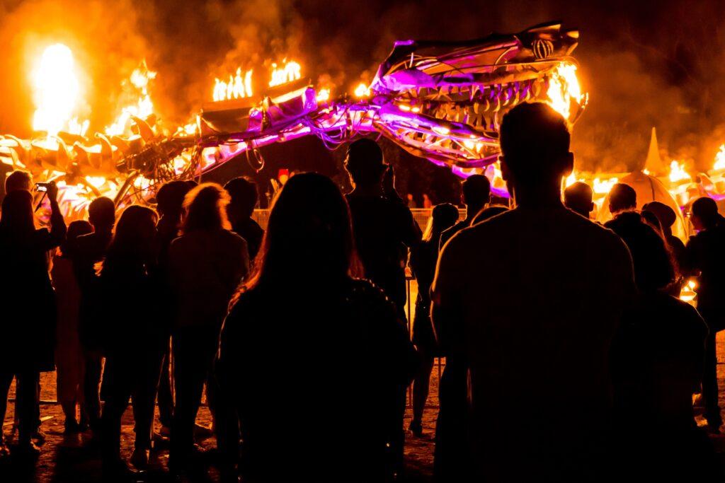 Silhouettes of people enjoying White Night festival Melbourne, Australia 2018