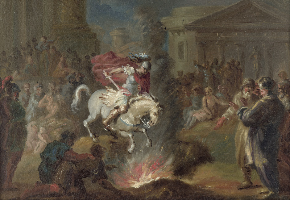 Another depiction of Marcus Curtius' self sacrifice