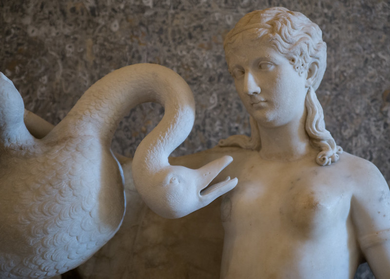 A statue of a girl with a swan in the Borghese Gallery