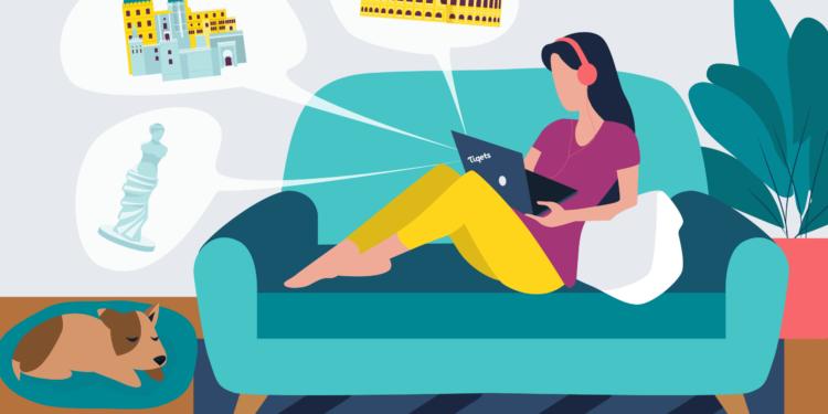 illustration woman on the sofa