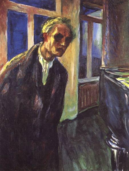 Edvard Munch in his studio at Ekely, 1943