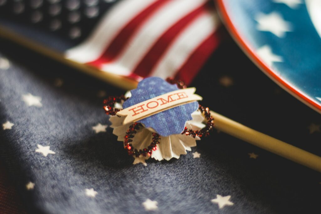 A close of shot of an America-themed pin badge