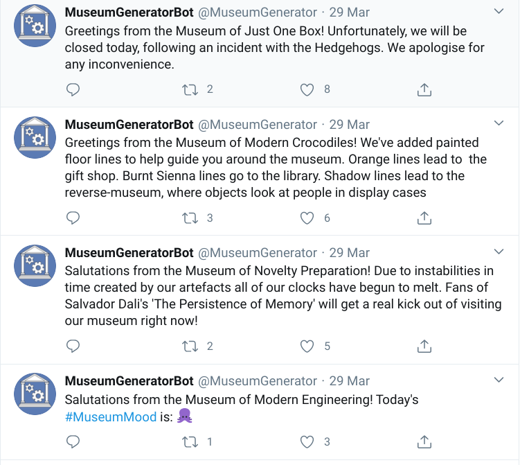 MuseumGeneratorBot on Twitter is full of randomly generated museum ideas