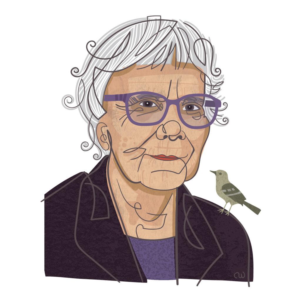 Illustration of reclusive writer Harper Lee)