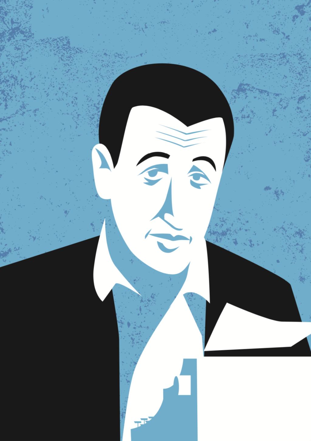 Illustration of reclusive author J.D Salinger