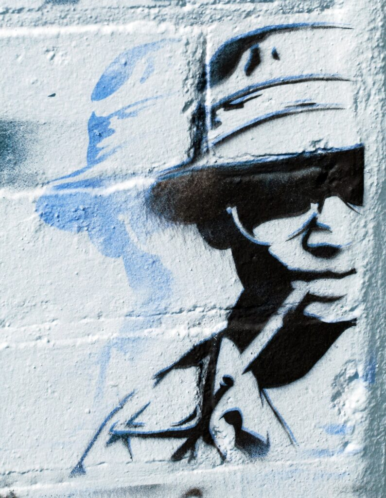 image of a graffiti stencil of reclusive author Hunter S. Thompson.