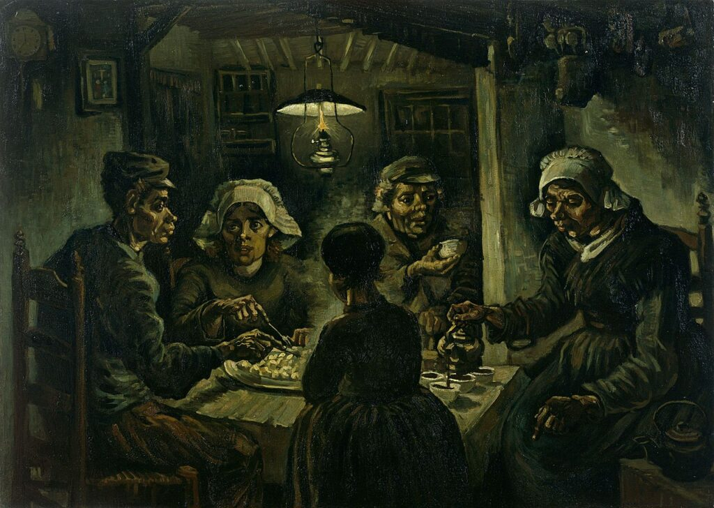 The Potato Eaters by Vincent Van Gogh; a painting of peasants eating food.
