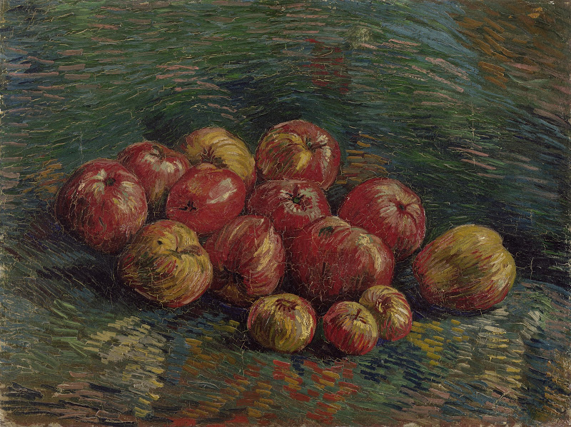A painting by Van Gogh of apples.