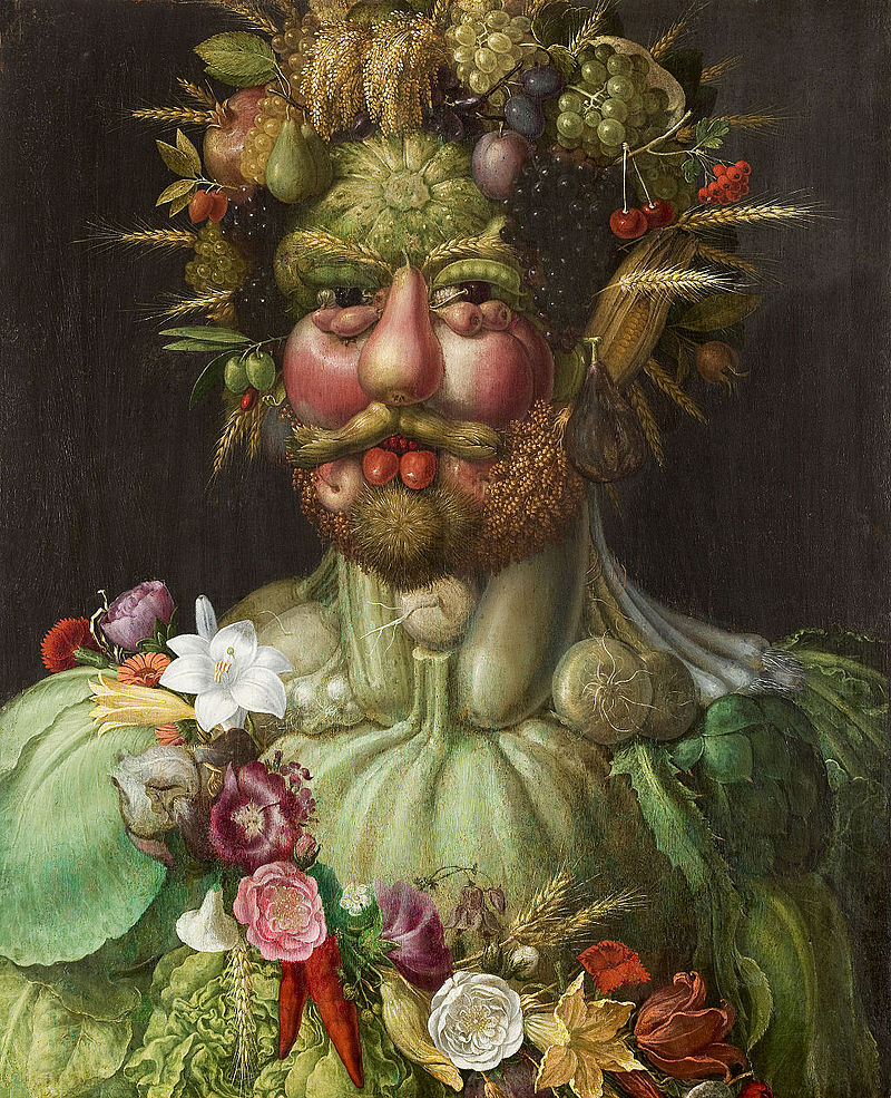 Vertumnus by Giuseppe Arcimboldo, a painting depicting an emperor as being made of food.