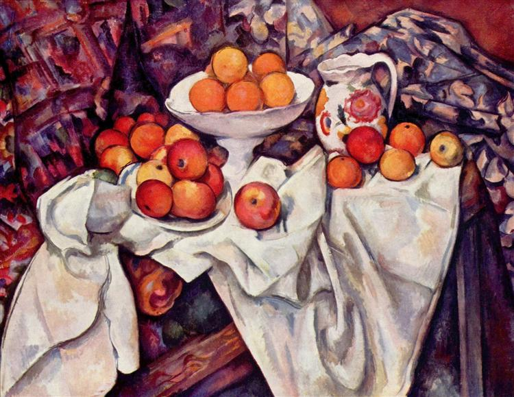 Apples and Oranges by Paul Cézanne, one of the most famous food paintings or still life paintings of fruit.