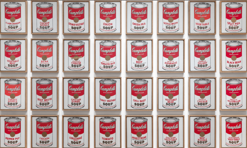 One of the most famous series of food paintings of all time, Andy Warhol's Campbell's Soup Cans.