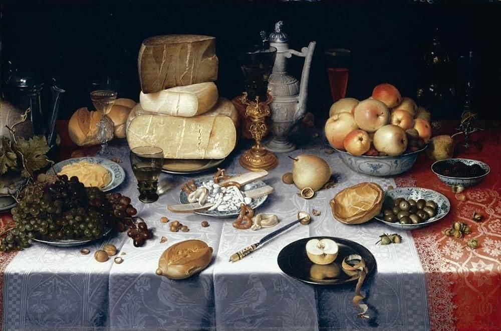Still Life with Cheese, a famous food painting by Dutch artist Floris Claesz. van Dijck.