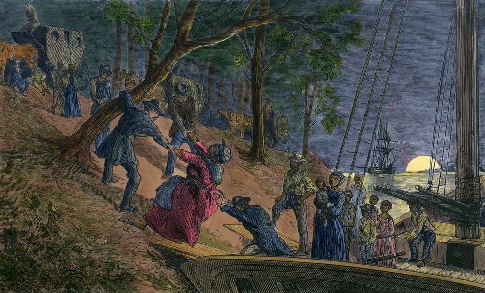 Watercolor of fugitive slaves arriving in Philadelphia in 1856 via the help of Underground Railroad agents.