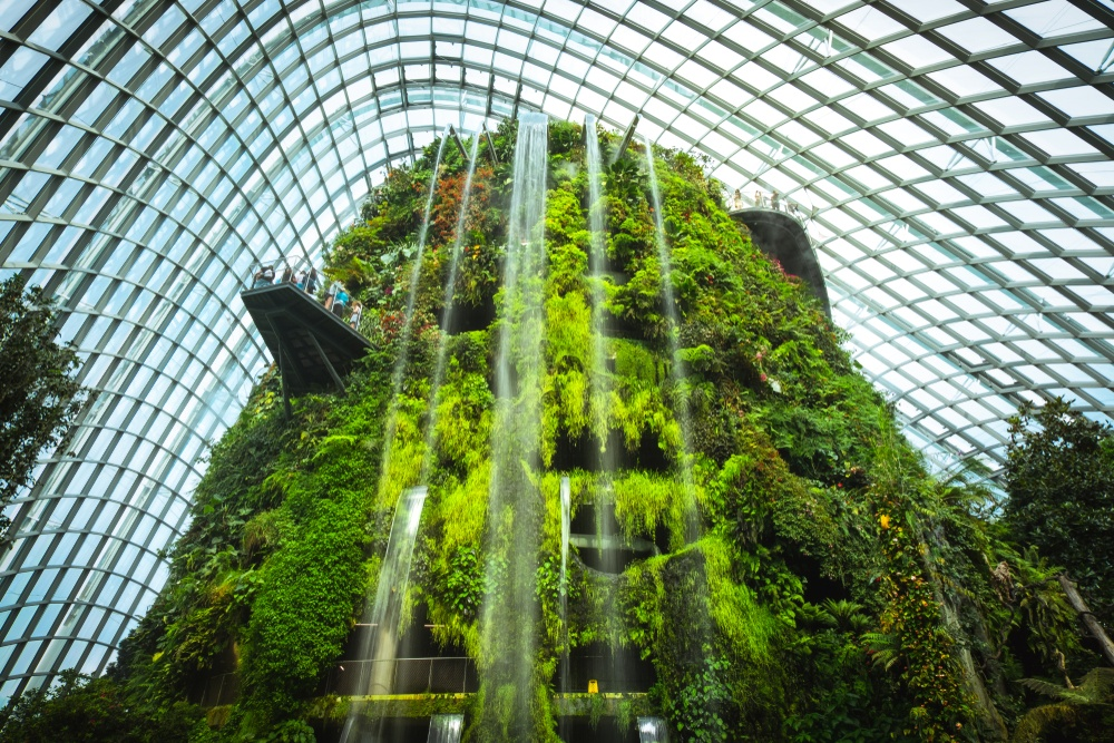 An artificial waterfall in Singapore's Gardens by the Bay.