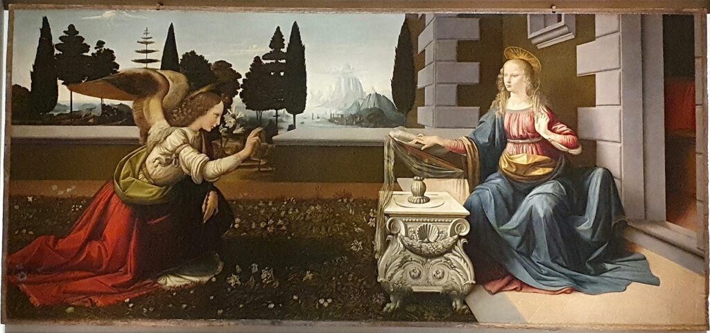 Annunciation by Leonardo da Vinci is a famous artwork in the Uffizi Gallery