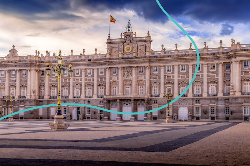 Another famous landmark in Spain is the Madrid Royal palace.