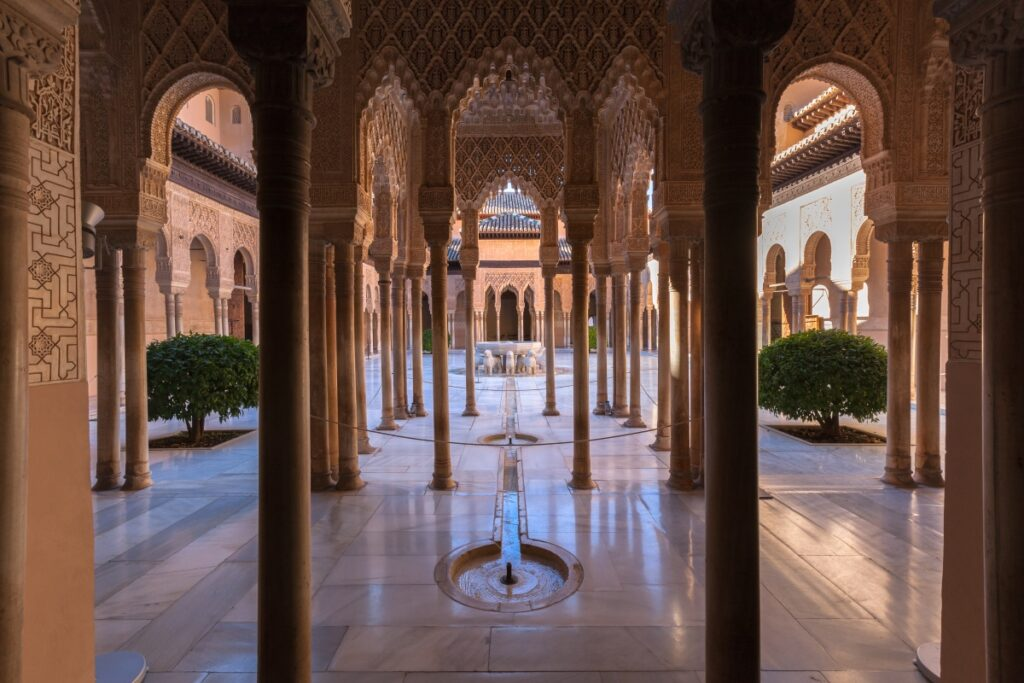 The famous Alhambra is a palace and fortress complex located in Granada, Andalucia, Spain
