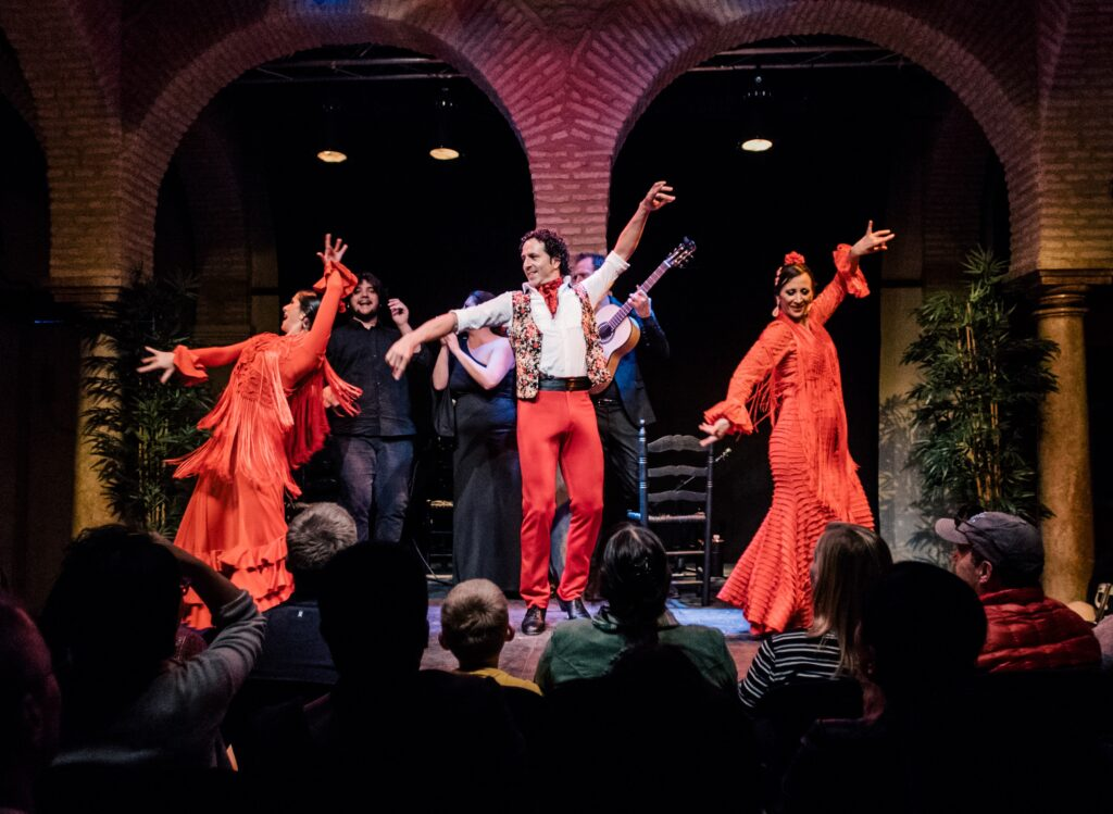 A flamenco show, within the context of the Flamenco Dance Museum in Seville.