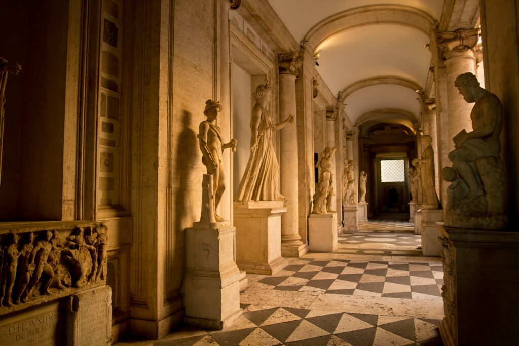 Classical statues at the Capitoline Museums, the world's oldest museum.