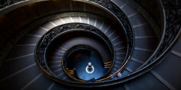 A spiral staircase at the Vatican Museums in Rome