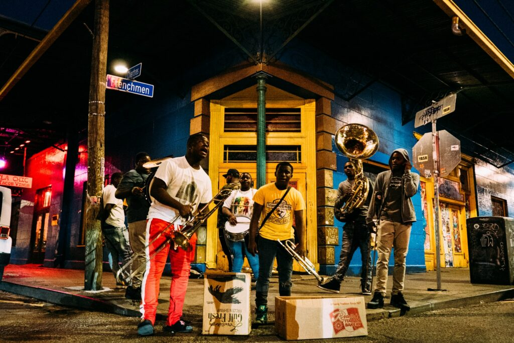 A jazz band performing in New Orleans' French Quarter