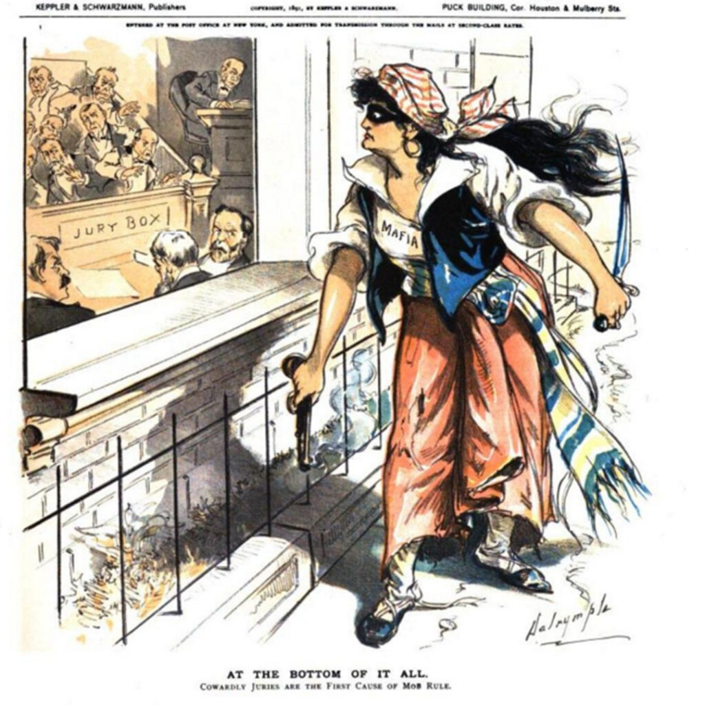 A cartoon drawn in the aftermath of the 1891 murder of Police Chief David Hennessy.