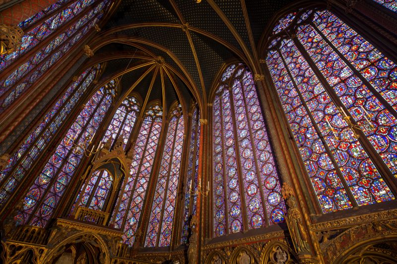 Interior view of Sainte-Chapelle's stained glass windows