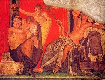 The Greek God of wine, Dionysus, fittingly sloshed.