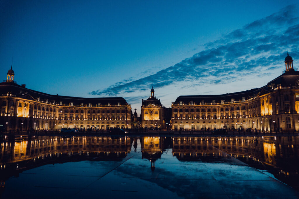 Place de la Bourse and its reflection in Mirroir D'eau, Bordeaux french city