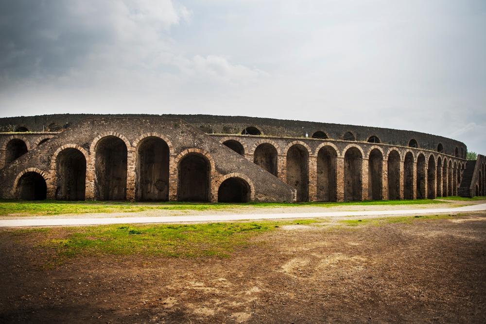 The exterior of Pompeii's spectacular amphitheatre.