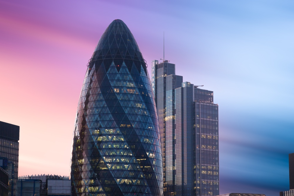 30 St Mary Axe, a modern skyscraper shaped like a glass gherkin.