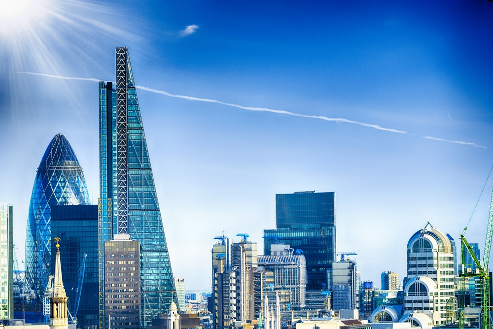 The Shard towering above the London skyline.
