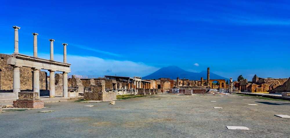 The Forum with Vesuvius looming ominously in the background.