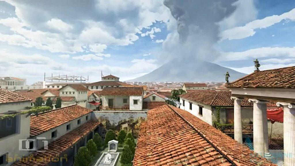 Vesuvius erupts sending a billowing column of smoke into the sky over Pompeii.