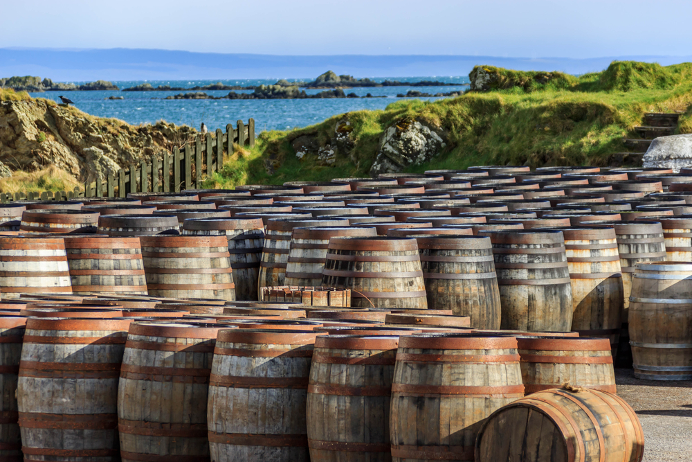Barrels of Scotch whisky lined up o the island of Islay.