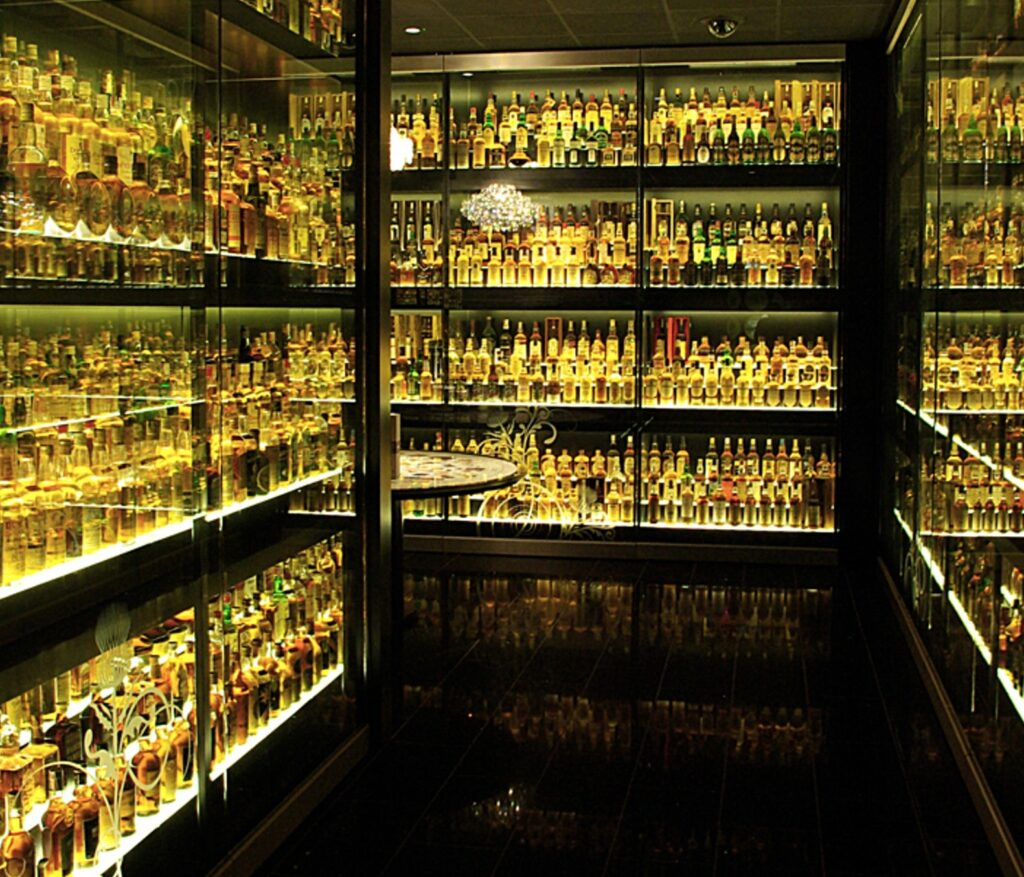 The impressive collection of Scotch whisky bottles at the Scotch Whisky Experience.