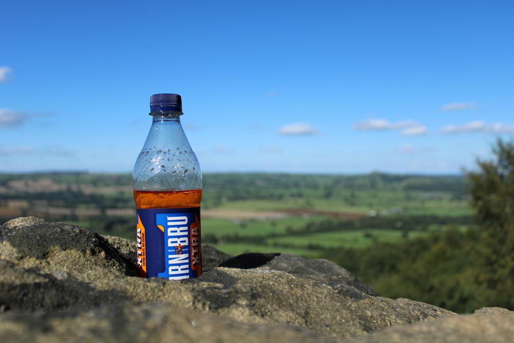 A bottle of Irn Bru craftily surveys the surrounding landscape.