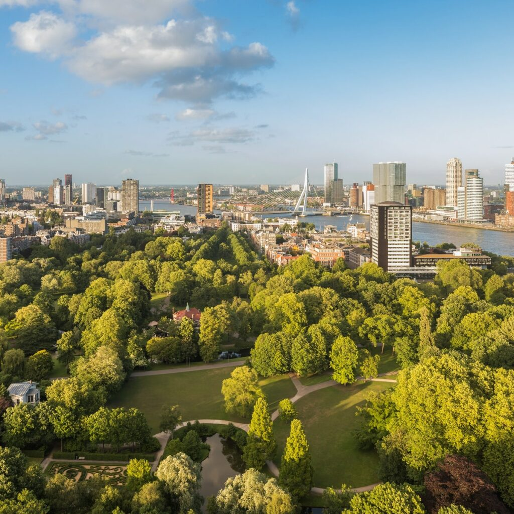 View of Rotterdam from the Euromast. Green park in the foreground and erasmus bridge in background