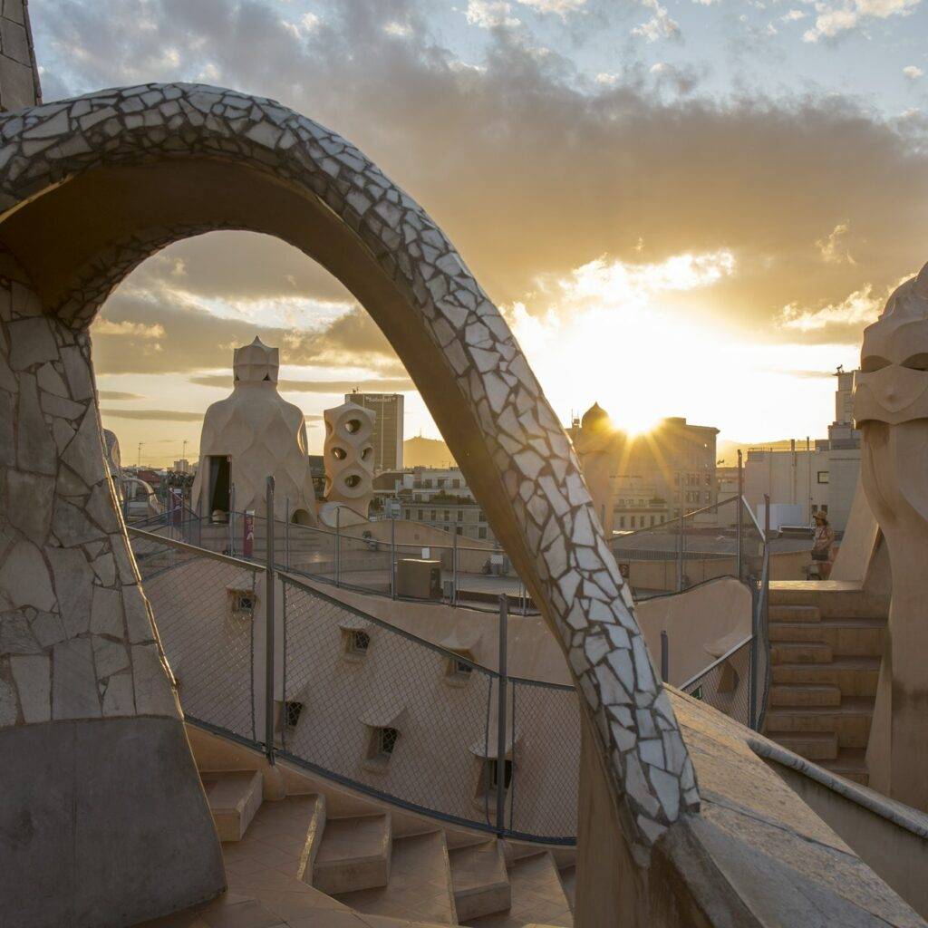 The rooftop view from Gaudí's breathtaking Casa Milà.