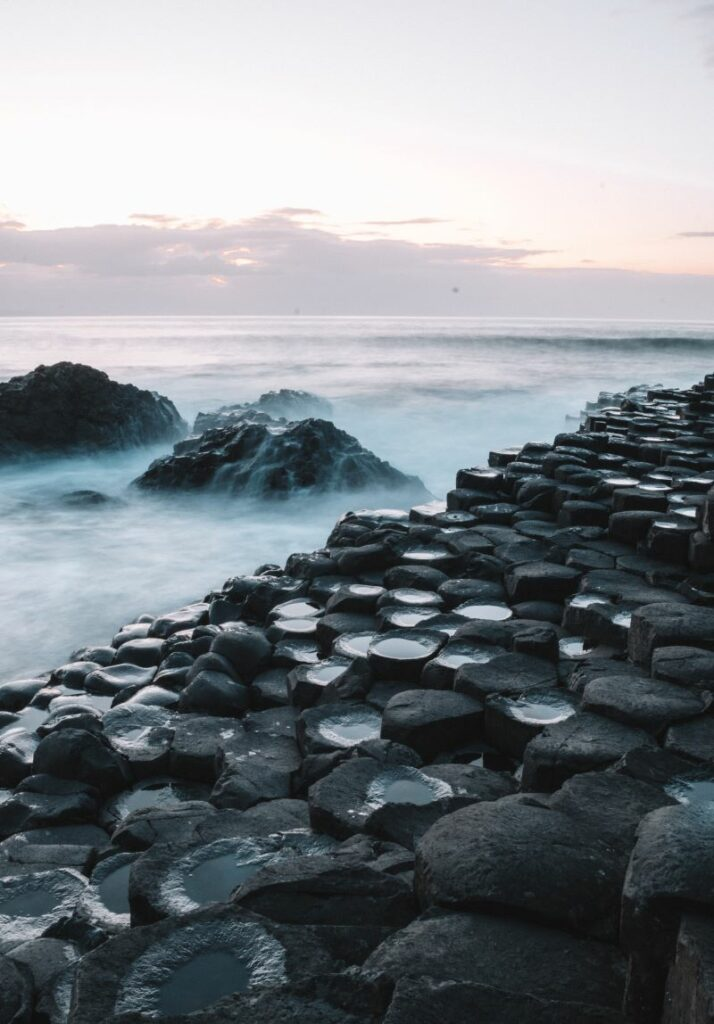 Long exposure of waves rolling over the Giant's Causeway