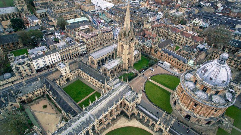Drone shot of Oxford University