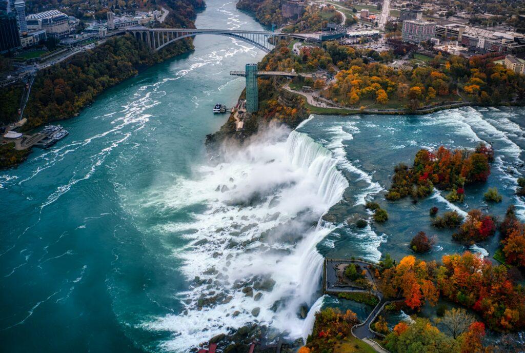 A aerial view of Niagara Falls