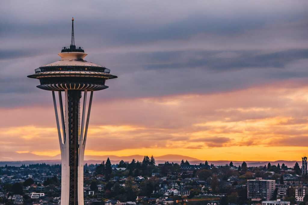 The Seattle Space Needle at Sunset