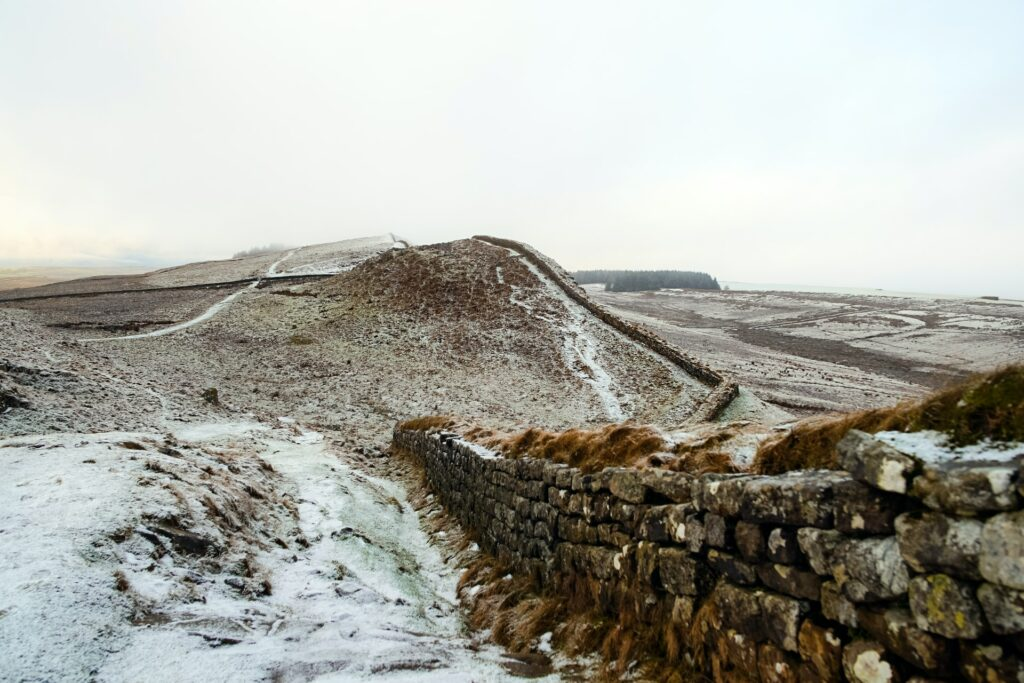 Snowy hills and Hadrian's Wall going off into the distance