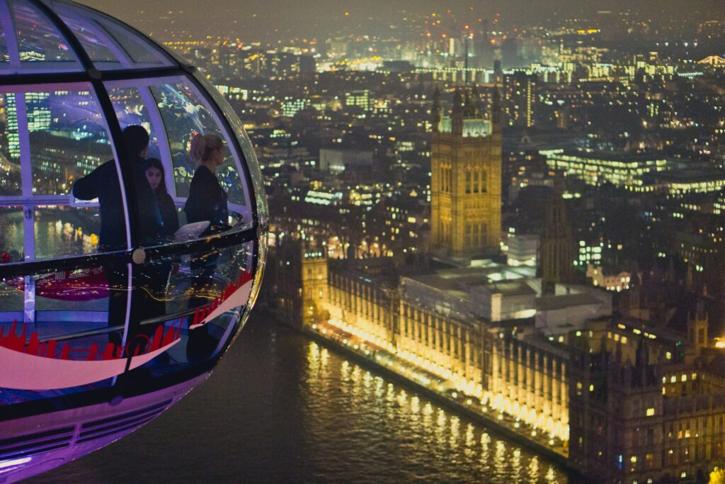 View of the Houses of Parliament from the London Eye at night