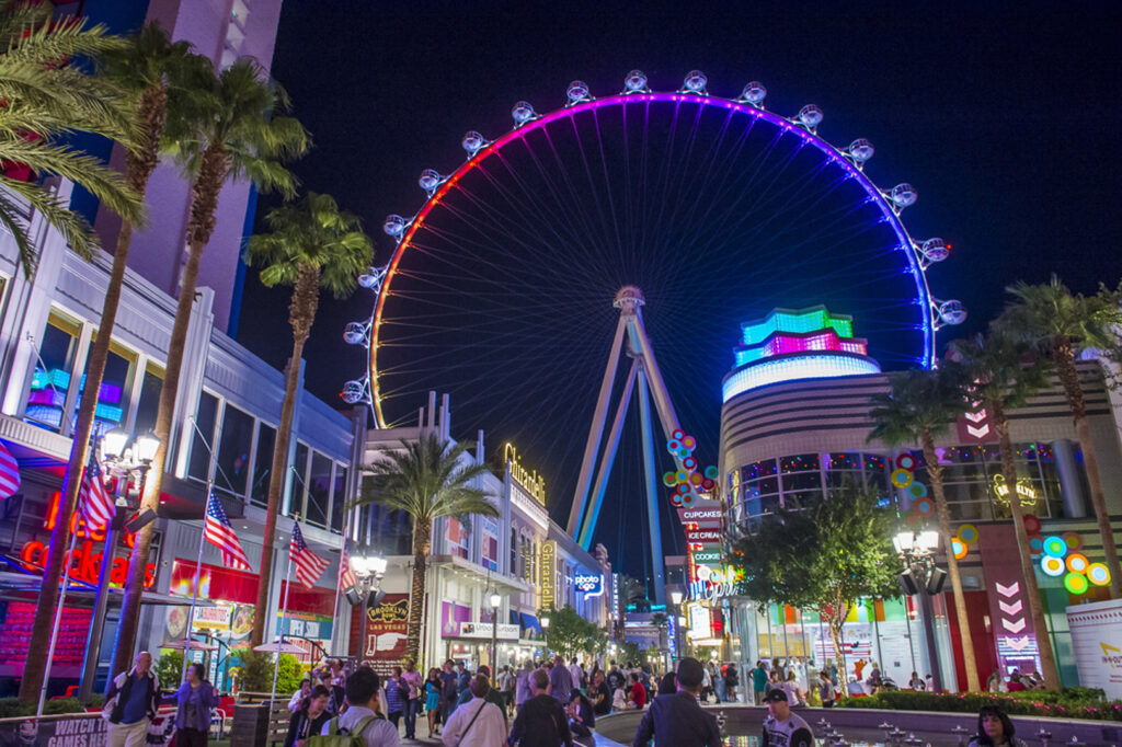 The LINQ High Roller Ferris wheel lit up at night
