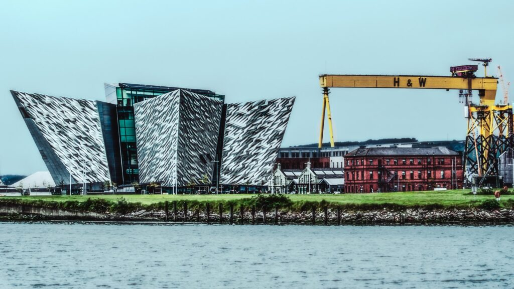 Shot of the Titanic Museum with Harland & Wolf crane beside it