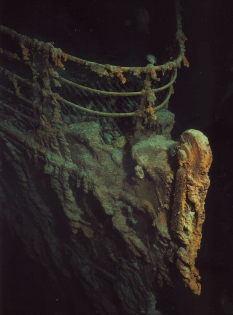 The shipwrecked hull of the Titanic