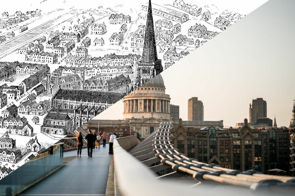 Photo of St Paul's Cathedral split diagonally by the old church's design